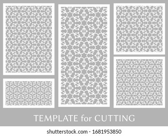 Decorative panels set for laser cutting. Geometric ornament for wedding invitation, envelope, greeting or business cards, Template for paper cut, printing, engraving wood, metal. Stencil manufacturing
