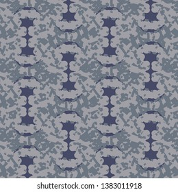 Decorative pattern with abstract geometric shapes colored in blue, on a flecked background in gray shades. Textile print. Tile. Vector illustration.