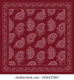 Decorative pattern of flowers and paisley for printing on fabric. Red ornament for a bandana, a silk neckerchief, a tablecloth or a kerchief. Square sketch in tribal or oriental style.