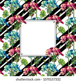 Decorative pattern square Frame of flowers and stripes in vintage style for fashion design