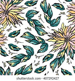 Decorative pattern with stylized flowers.
