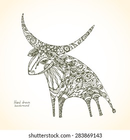 Decorative patterned bull