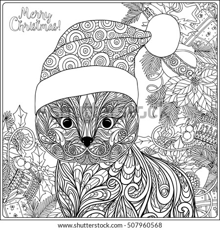 Decorative Patterned Cat Hat Santa Claus Stock Vector Royalty Free