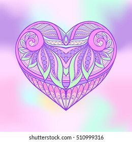 Decorative patterned colored love heart. Stock line vector illustration.