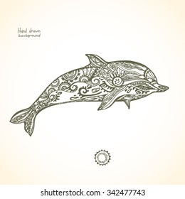 Decorative patterned dolphin