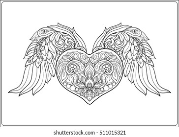 Decorative patterned Love Heart with angel wings. Stock line vector illustration. Coloring book for adult. Outline drawing coloring page.
