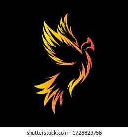 decorative phoenix bird logo vector concept