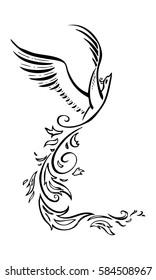 Decorative phoenix bird. Vector tattoo