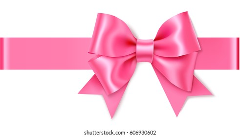 Decorative pink bow with horizontal ribbon. Vector rose bow for page decor isolated on white