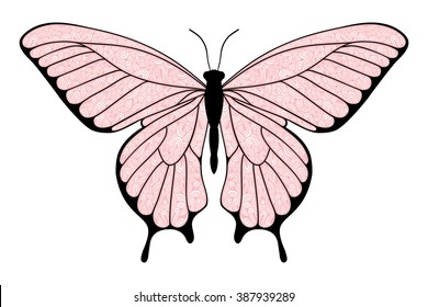 Decorative pink butterfly, isolated on white background. Vector illustration.