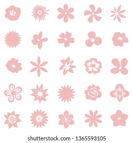 Decorative pink isolated flowers set