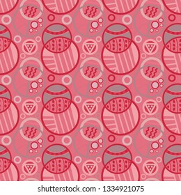 decorative pink monochrome doodled circles seamless pattern tile for cheerful modern surface designs, textile, fabric, wallpaper, background, templates and backdrop