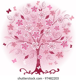 Decorative pink spring tree with flowers, leaves and butterflies (vector EPS 10)