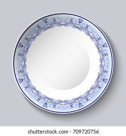 Decorative plate with blue ornament on the edge. Vector illustration