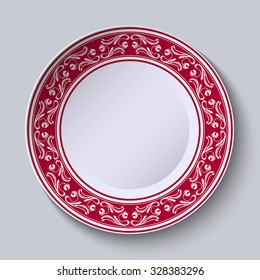 Decorative plate with floral painting on the edge of the ethnic oriental style, isolated on gray background. Vector illustration.