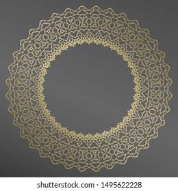 Decorative plate  and mandala  in gold for interior design. Home decor. porcelain design.