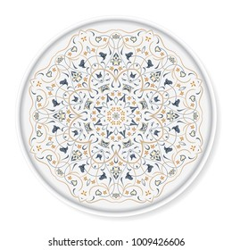 Decorative plate with ornament in Arabic style. Circular ornate pattern. Vector illustration.