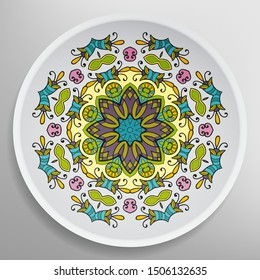 Decorative plate with round ornament in ethnic style. Mandala circular abstract geometric floral pattern. Fashion background with ornate dish. Interior home decor, vector illustration