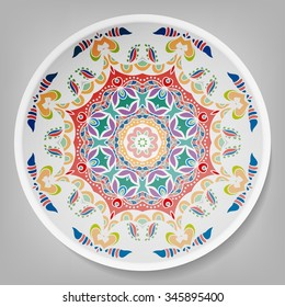 Decorative plate with round ornament in ethnic style. Mandala circular abstract floral pattern. Fashion background with ornate dish. Vector illustration