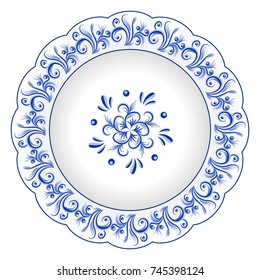 Decorative porcelain plate ornate with blue floral ornament pattern in traditional Russian style Gzhel with vintage elements. Isolated object, white plate with blue paint. Vector illustration