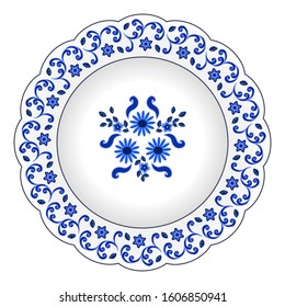Decorative porcelain plate ornate with floral pattern. Isolated object, design with flowers and chamomiles, blue on white, top view. Vector illustration