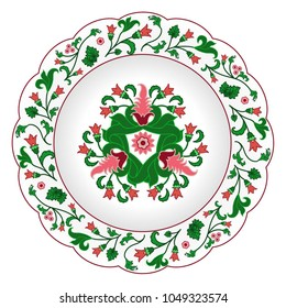 Decorative porcelain plate ornate in traditional oriental Indian style with exotic colorful flowers. Vector illustration, isolated object