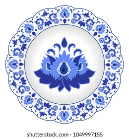 Decorative porcelain plate ornate in traditional Russian style Gzhel. Isolated white plate with blue floral pattern. Vector illustration