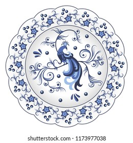 Decorative porcelain plate ornate in traditional Russian style Gzhel. Isolated white plate with blue floral pattern with famous oriental character - the firebird. Vector illustration