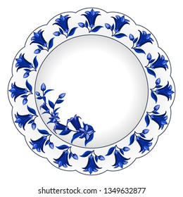 Decorative porcelain plate ornate in traditional Russian Gzhel style. Isolated plate with floral pattern, bell flowers and leaves, blue on white. Vector illustration