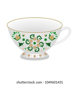 Decorative porcelain tea cup ornate in traditional oriental Indian style. Isolated tea cup with colorful exotic floral pattern. Vector illustration
