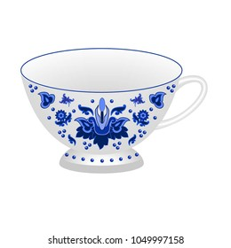 Decorative porcelain tea cup ornate in traditional Russian style Gzhel. Isolated white cup with blue floral ornament pattern. Vector illustration