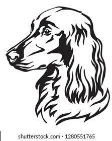 Decorative portrait of Dog Irish Setter, vector isolated illustration in black color on white background. Image for design and tattoo.