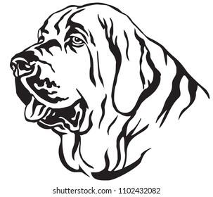 Decorative portrait in profile of dog Spanish Mastiff, vector isolated illustration in black color on white background