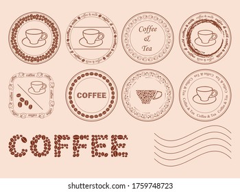 decorative post stamps with coffee grains - vector set