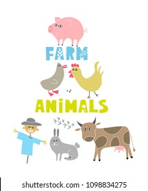 Decorative print with farm animals and pets. Vector poster for children.