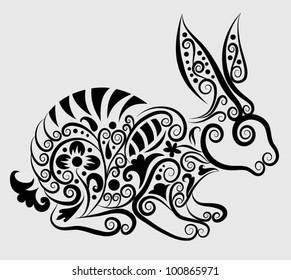 Decorative rabbit. rabbit and flora ornaments, leaf, flower, nature decoration for tattoo design