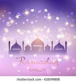 Decorative Ramadan background with stars and bokeh lights
