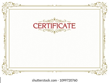 "Decorative rectangular framework with lettering ""Certificate"", text dividers and tangier grid. Template for diploma, certificate. A4, A3  page proportions."