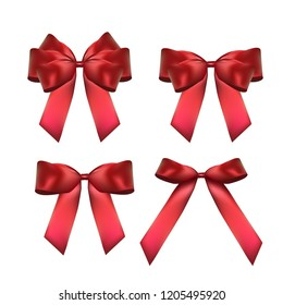 Decorative red bow collection set. 3D Realistic Vector Illustration. EPS10