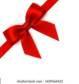 Decorative red bow with diagonally ribbon on the corner. Vector bow for page decor