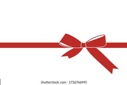 Decorative red bow with horizontal red ribbon isolated on white.