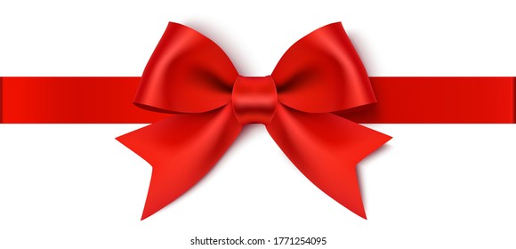 Decorative red bow with horizontal ribbon isolated on white background. Vector illustration