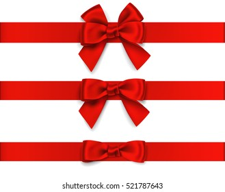 Decorative red bow with horizontal red ribbon isolated on white. Vector set of beautiful  bows for page decor