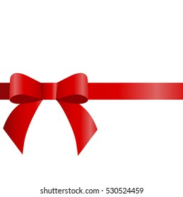 decorative red bow  horizontal red ribbon. Vector bow for page decor