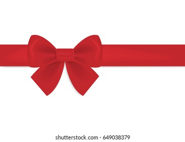 Decorative red bow with horizontal ribbon. Bow for page decor isolated on white background. Vector illustration.