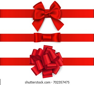 Decorative red bow with horizontal red ribbon isolated on white. Vector set of bows for page decor