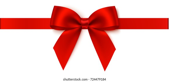 Decorative red bow with horizontal red ribbon. Vector bow for page decor isolated on white