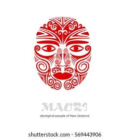 Decorative red Mask Maori. Vector hand drawn illustration.
