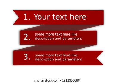 Decorative Red ribbon 3 lines for your text