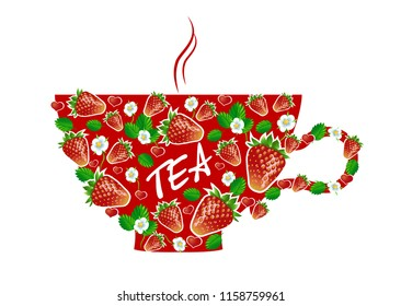 Decorative red tea Cup with strawberries on white background. Vector.